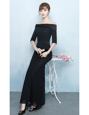 Custom Sheath Off-the-shoulder Chiffon Evening Dress with Half Sleeves