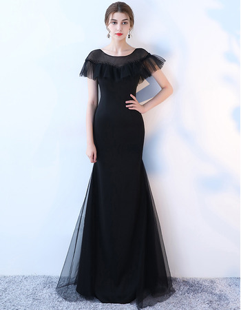 2019 New Style Sheath Short Sleeves Floor Length Evening Dresses