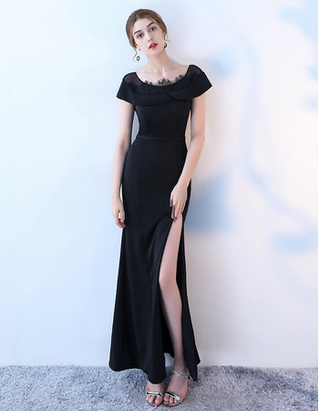 Custom Sheath Short Sleeves Floor Length Satin Evening Dress with Slit