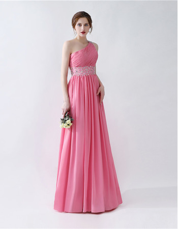 2018 New Style One Shoulder Floor Length Chiffon Evening Dresses