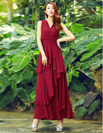 Custom V-Neck Sleeveless Ankle Length Chiffon Evening Dresses