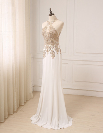 Affordable Sheath Halter Floor Length Chiffon Embroidery Evening Dress