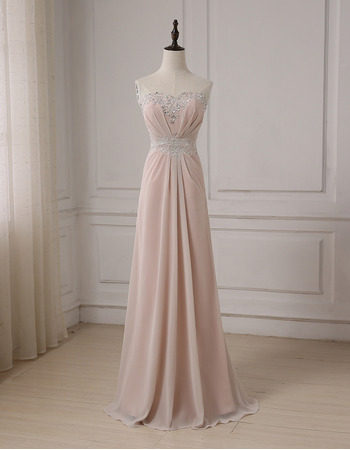 2018 New Style Sweetheart Floor Length Chiffon Evening Dresses