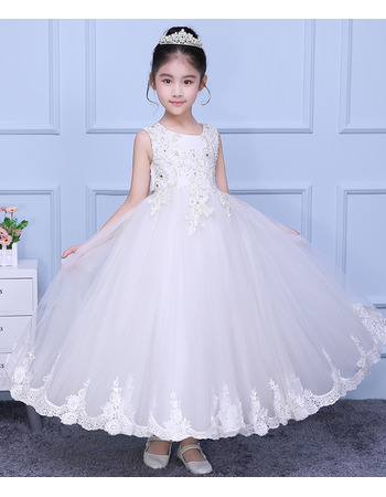 Inexpensive Ball Gown Ankle Length Organza Flower Girl Dresses