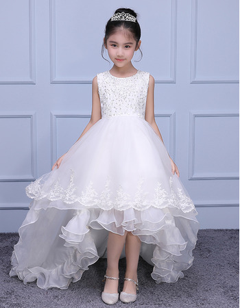 Adorable Sleeveless High-Low Sweep Train Organza Flower Girl Dresses
