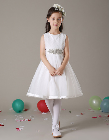 Stunning A-Line Knee Length Satin Organza Flower Girl Dresses