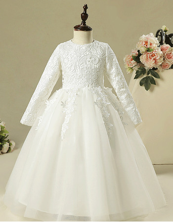 Adorable Long Lace Organza Flower Girl Dresses with Long Sleeves
