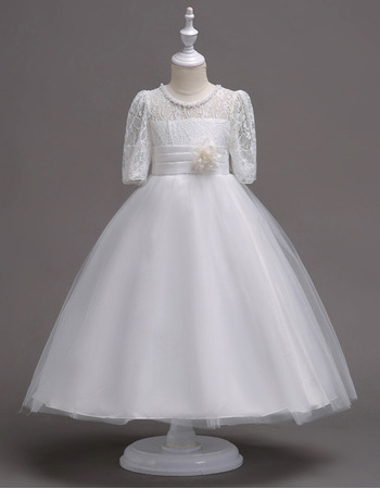 2018 Style Ball Gown Lace Flower Girl Dresses with Half Sleeves