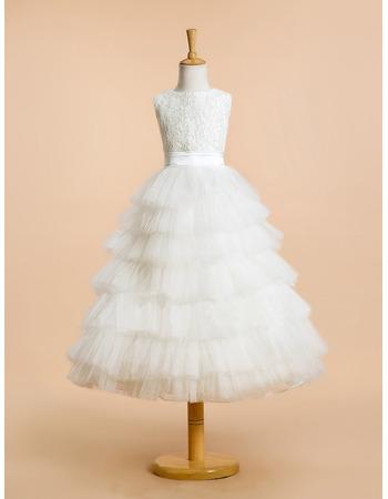 Custom Sleeveless Lace Organza Layered Skirt Flower Girl Dresses