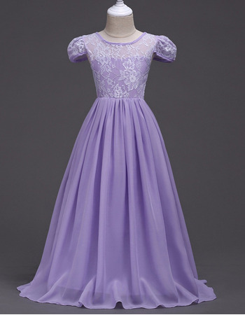 Affordable Long Chiffon Lace Flower Girl Dresses with Cap Sleeves