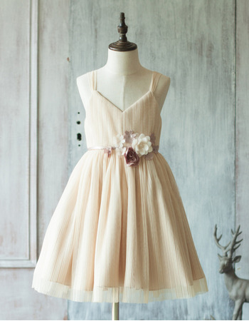 Adorable Spaghetti Straps Knee Length Chiffon Flower Girl Dresses
