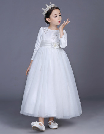 Affordable Ankle Length Satin Flower Girl Dresses with Long Sleeves