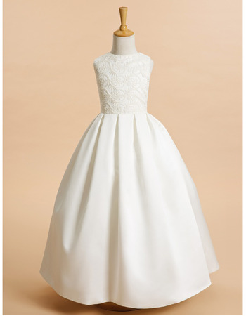 Adorable Ball Gown Floor Length Satin Embroidery Flower Girl Dresses