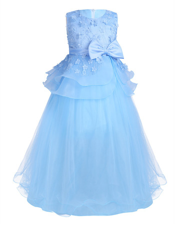 Custom Sleeveless Floor Length Applique Little Girls Party Dresses