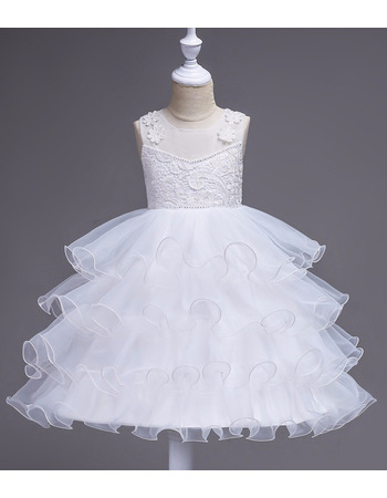 Discount A-Line Knee Length Layered Skirt Flower Girl Dresses