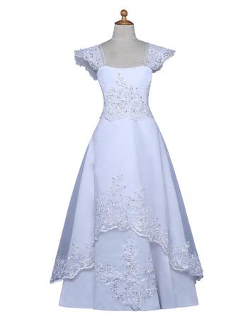 Custom Square Cap Sleeves Floor Length Satin Flower Girl Dresses