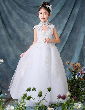 Inexpensive Mandarin Collar Floor Length Organza Flower Girl Dresses