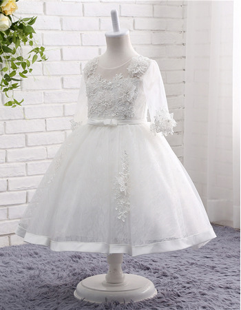 Adorable Tea Length Organza Flower Girl Dresses with 3/4 Long Sleeves