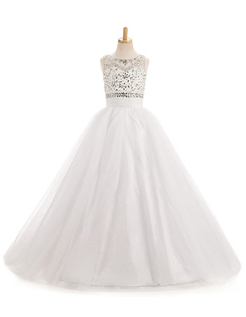 Custom A-Line Sleeveless Floor Length Organza Flower Girl Dresses