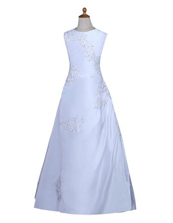 Stunning A-Line Sleeveless Floor Length Satin Flower Girl Dresses