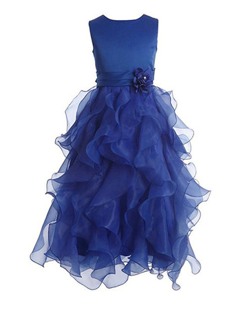 Stunning Sleeveless Floor Length Ruffle Skirt Flower Girl Dresses