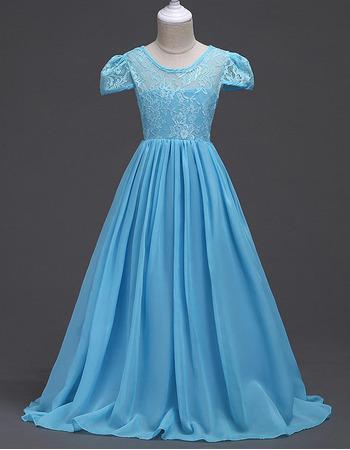 Custom Floor Length Chiffon Lace Flower Girl Dress with Short Sleeves