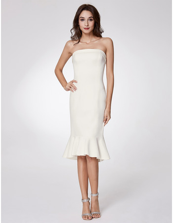 Affordable Trumpet Strapless Knee Length Satin Homecoming Dresses