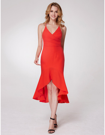 Discount Trumpet Spaghetti Straps High-Low Chiffon Homecoming Dresses