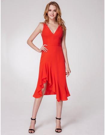 Sexy Trumpet V-Neck Asymmetric Short Chiffon Homecoming Dresses