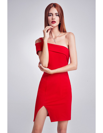Inexpensive Sheath One Shoulder Mini Homecoming/ Party Dresses
