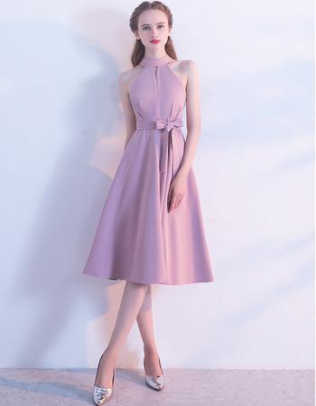 Custom A-Line Halter Knee Length Satin Homecoming/ Bridesmaid Dresses
