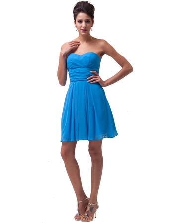Custom Sweetheart Mini/ Short Chiffon Homecoming/ Graduation Dresses