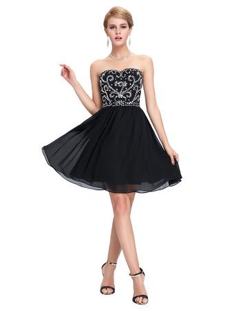 Sexy Sweetheart Mini/ Short Chiffon Black Homecoming/ Party Dresses