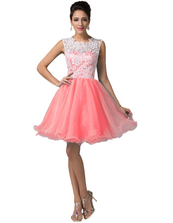 Custom Mini/ Short Lace Taffeta Homecoming/ Birthday Party Dresses