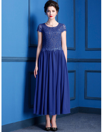 Custom Tea Length Chiffon Lace Mother Dresses with Short Sleeves