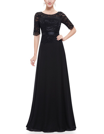 Inexpensive Lace Chiffon Black Mother Dresses with Short Sleeves