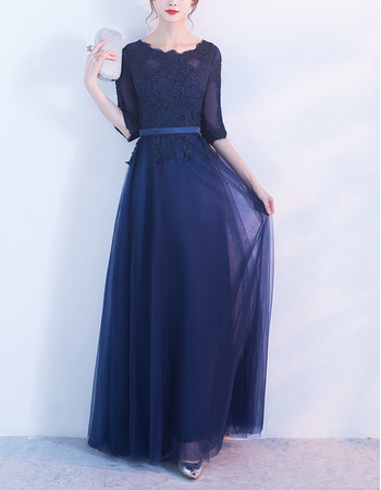 2018 New Floor Length Satin Tulle Mother Dresses with Half Sleeves