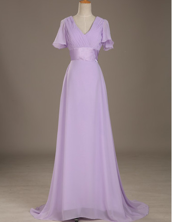 Affordable V-Neck Floor Length Chiffon Mother Dress with Short Sleeves