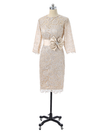 Custom Column Floor Length Lace Mother Dress with 3/4 Long Sleeves
