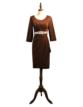 Elegant Knee Length Satin Mother Dresses with 3/4 Long Sleeves