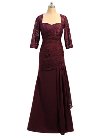 Inexpensive Floor Length Mother Dresses with 3/4 Long Lace Sleeves