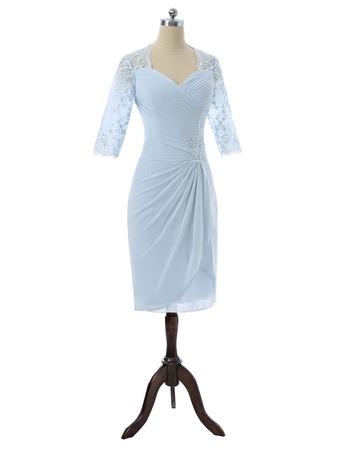 Custom Knee Length Chiffon Mother Dresses with 3/4 Long Sleeves