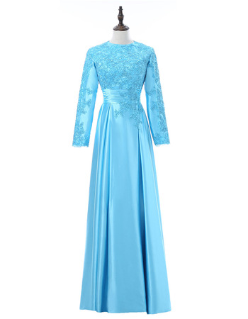 Vintage Floor Length Taffeta Mother Dresses with Long Sleeves