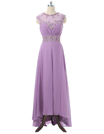 Elegant Sleeveless High-Low Long Chiffon Mother of the Bride Dresses