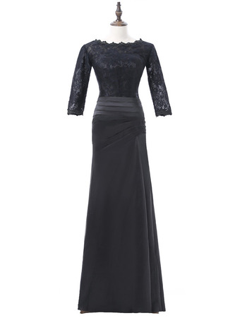 Elegant Long Lace Satin Black Mother Dresses with 3/4 Long Sleeves