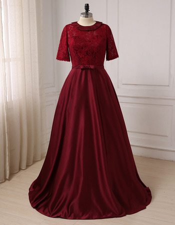 Affordable Floor Length Lace Satin Mother Dresses with Short Sleeves