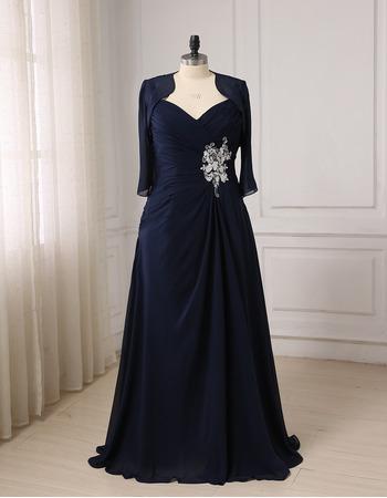 Custom Sweetheart Floor Length Chiffon Mother Dresses with Jackets