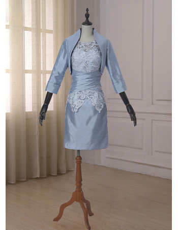 Discount Sheath Short Lace Taffeta Mother Dresses with Jackets