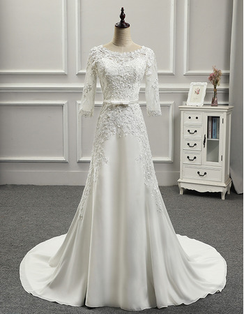 Vintage Court Train Chiffon Wedding Dresses with 3/4 Long Sleeves
