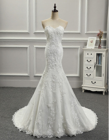 Custom Trumpet Sweetheart Floor Length Applique Wedding Dresses